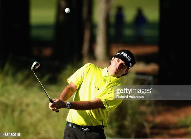 Bubba Watson of the USA hits a pitch shot during a practice round ahead of THE PLAYERS Championship on The Stadium Course at TPC Sawgrass on May 6...
