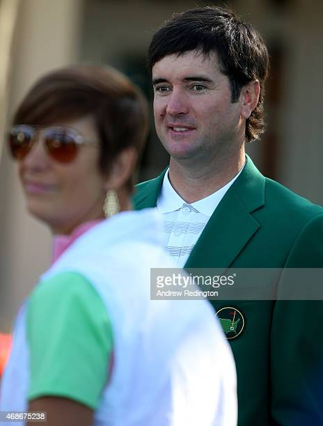 Bubba Watson of the USA Masters Champion in 2012 and 2014 is pictured with his wife Angie during the Drive Chip and Putt Championship at Augusta...