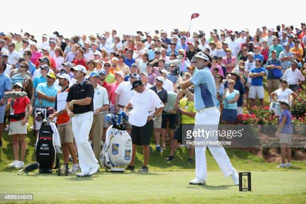Bubba Watson of the USA tee's off at the 18th during the second round of THE PLAYERS Championship on The Stadium Course at TPC Sawgrass on May 9,...