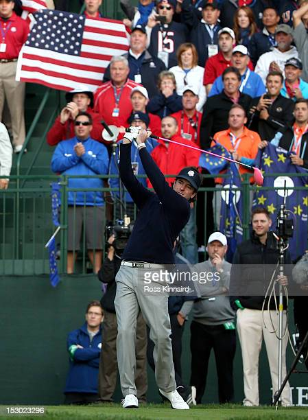 Bubba Watson of the USA watches his tee shot on the first hole during day two of the Morning Foursome Matches for The 39th Ryder Cup at Medinah...
