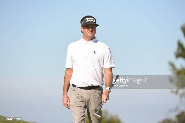 Bubba Watson on the 11th green on the North course during the first round of the Farmers Insurance Open at Torrey Pines South on January 28, 2021 in...