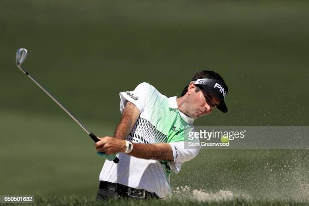 Bubba Watson plays a shot from a bunker on the eighth hole during the first round of the Valspar Championship at Innisbrook Resort Copperhead Course...