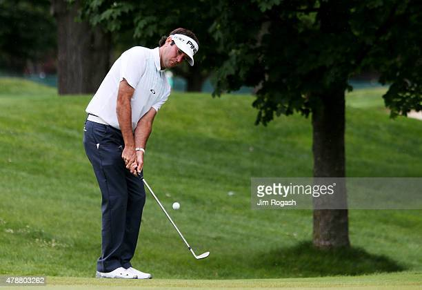 Bubba Watson plays a shot on the fifth hole during the third round of the Travelers Championship at TPC River Highlands on June 27 2015 in Cromwell...