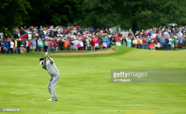 Bubba Watson plays a shot on the fourth hole during the final round of the Travelers Championship at TPC River Highlands on June 28 2015 in Cromwell...