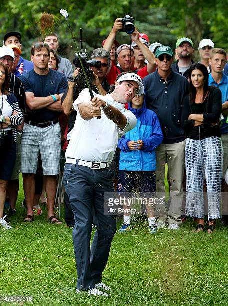Bubba Watson plays a shot on the fourth hole during the third round of the Travelers Championship at TPC River Highlands on June 27 2015 in Cromwell...