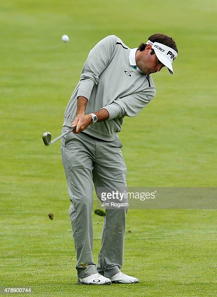 Bubba Watson plays a shot on the seventh hole during the final round of the Travelers Championship at TPC River Highlands on June 28 2015 in Cromwell...