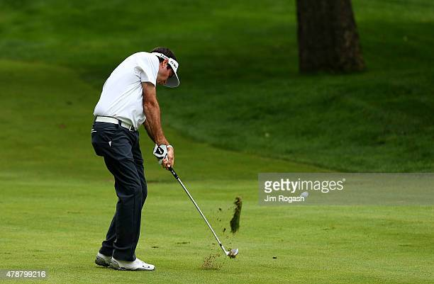 Bubba Watson plays a shot on the tenth hole during the third round of the Travelers Championship at TPC River Highlands on June 27 2015 in Cromwell...
