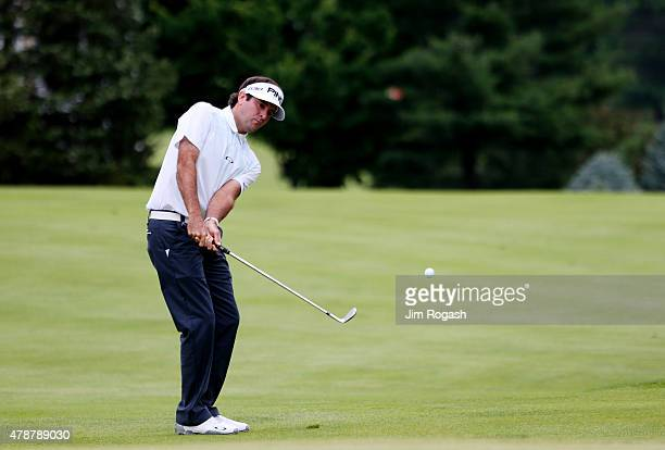 Bubba Watson plays a shot on the third hole during the third round of the Travelers Championship at TPC River Highlands on June 27 2015 in Cromwell...
