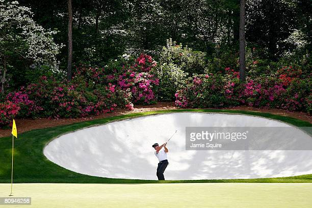 Bubba Watson plays a shot out of a bunker during the first round of the 2008 Masters Tournament at Augusta National Golf Club on April 10, 2008 in...