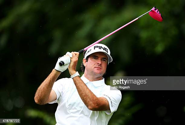 Bubba Watson plays his shot from the 12th tee during the third round of the Travelers Championship at TPC River Highlands on June 27 2015 in Cromwell...