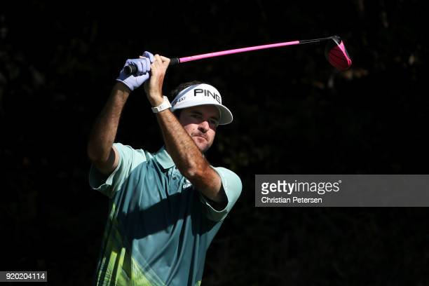 Bubba Watson plays his shot from the 13th tee during the final round of the Genesis Open at Riviera Country Club on February 18 2018 in Pacific...