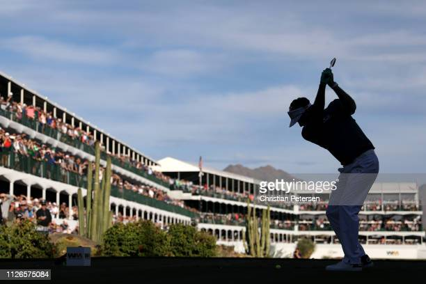Bubba Watson plays his shot from the 16th tee during the first round of the Waste Management Phoenix Open at TPC Scottsdale on January 31 2019 in...