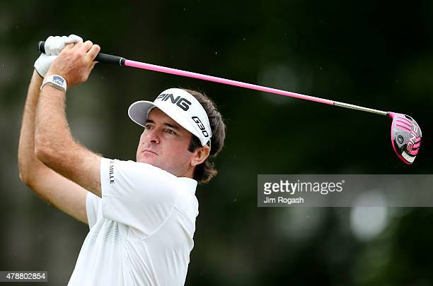 Bubba Watson plays his shot from the 18th tee during the third round of the Travelers Championship at TPC River Highlands on June 27 2015 in Cromwell...