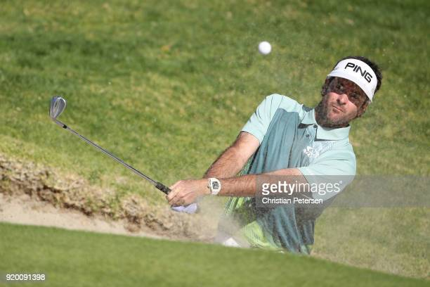 Bubba Watson plays his shot from the bunker on the 14th hole during the final round of the Genesis Open at Riviera Country Club on February 18 2018...