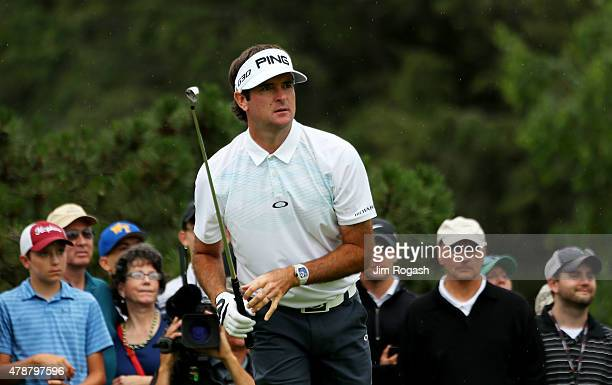 Bubba Watson plays his shot from the fifth tee during the third round of the Travelers Championship at TPC River Highlands on June 27 2015 in...