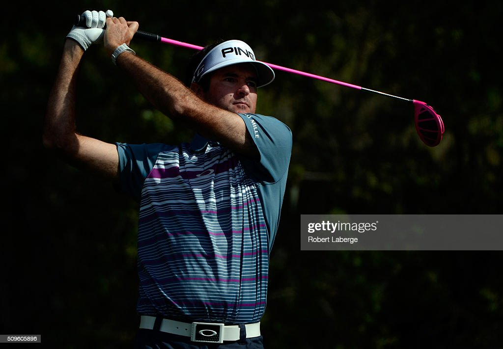 Bubba Watson plays his tee shot on the 16th hole during the first round of the AT&T Pebble Beach National Pro-Am at the Spyglass Hill Golf Course on February 11, 2016 in Pebble Beach, California.