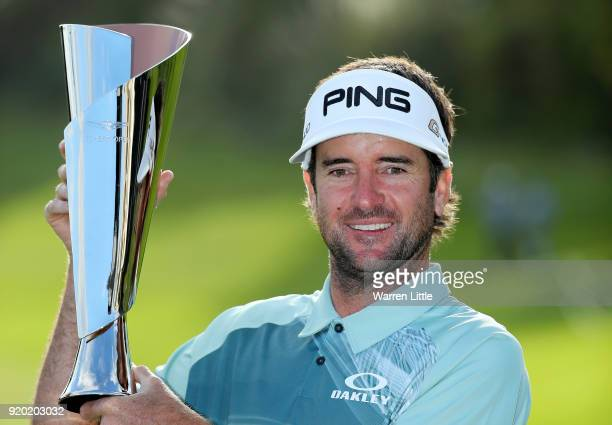 Bubba Watson poses with the trophy after winning the Genesis Open at Riviera Country Club on February 18 2018 in Pacific Palisades California
