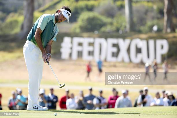 Bubba Watson putts on the ninth green during the final round of the Genesis Open at Riviera Country Club on February 18 2018 in Pacific Palisades...