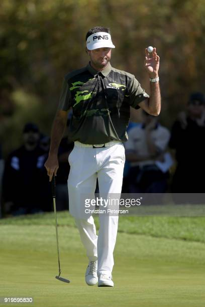 Bubba Watson reacts after making eagle on the first green during the third round of the Genesis Open at Riviera Country Club on February 17 2018 in...