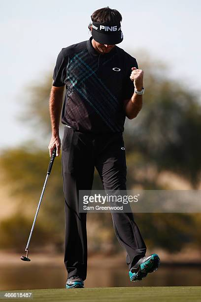 Bubba Watson reacts after putting on the 15th hole during the final round of the Waste Management Phoenix Open at TPC Scottsdale on February 2 2014...