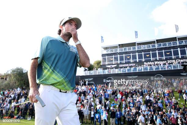 Bubba Watson reacts after winning the Genesis Open at Riviera Country Club on February 18 2018 in Pacific Palisades California