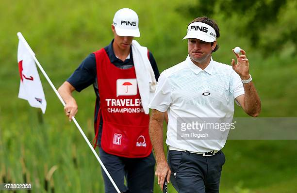 Bubba Watson reacts on the 13th green during the third round of the Travelers Championship at TPC River Highlands on June 27 2015 in Cromwell...