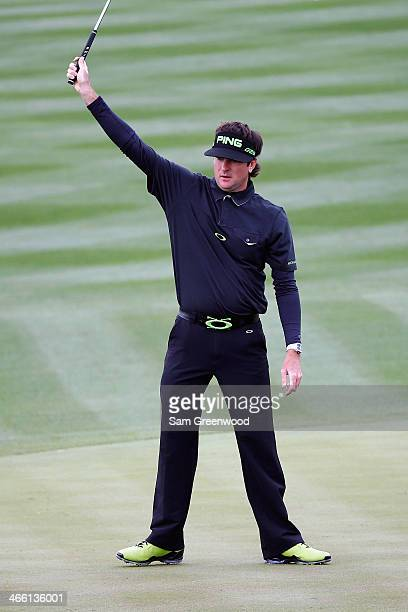 Bubba Watson reacts to making a birdie on the 8th hole during the second round of the Waste Management Phoenix Open at TPC Scottsdale on January 31,...