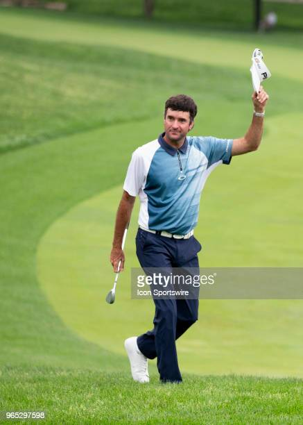 Bubba Watson reacts to the crowd to a birdie shot during the second round of the Memorial Tournament at Muirfield Village Golf Club in Dublin Ohio on...