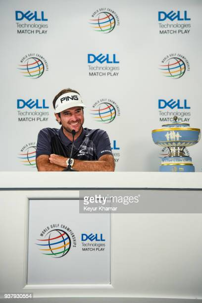 Bubba Watson smiles during a press conference following his 76 victory in the championship match at the World Golf ChampionshipsDell Technologies...