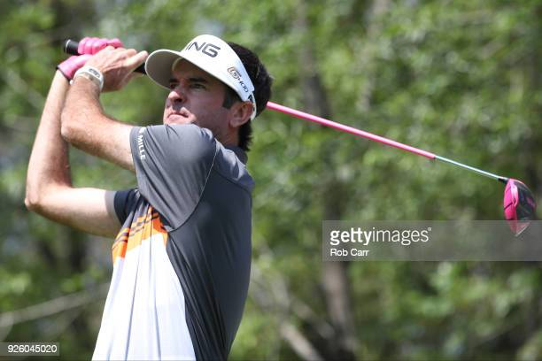 Bubba Watson tees off on the 11th hole during the first round of World Golf ChampionshipsMexico Championship at Club de Golf Chapultepec on March 1...