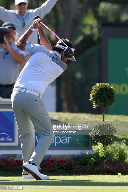 Bubba Watson tees off on the 18th hole during the second round of the Valspar Championship on March 22 at Westin Innisbrook-Copperhead Course in Palm...