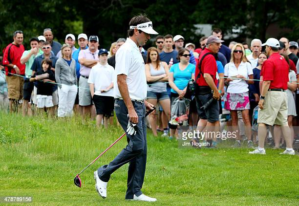 Bubba Watson walks during the third round of the Travelers Championship at TPC River Highlands on June 27 2015 in Cromwell Connecticut