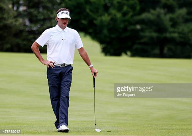 Bubba Watson walks on the third hole during the third round of the Travelers Championship at TPC River Highlands on June 27 2015 in Cromwell...
