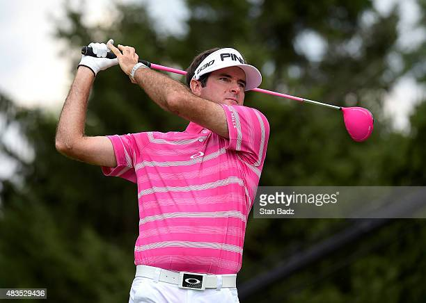 Bubba Watson watches his driver on the fourth hole during the final round of the World Golf Championships-Bridgestone Invitational at Firestone...