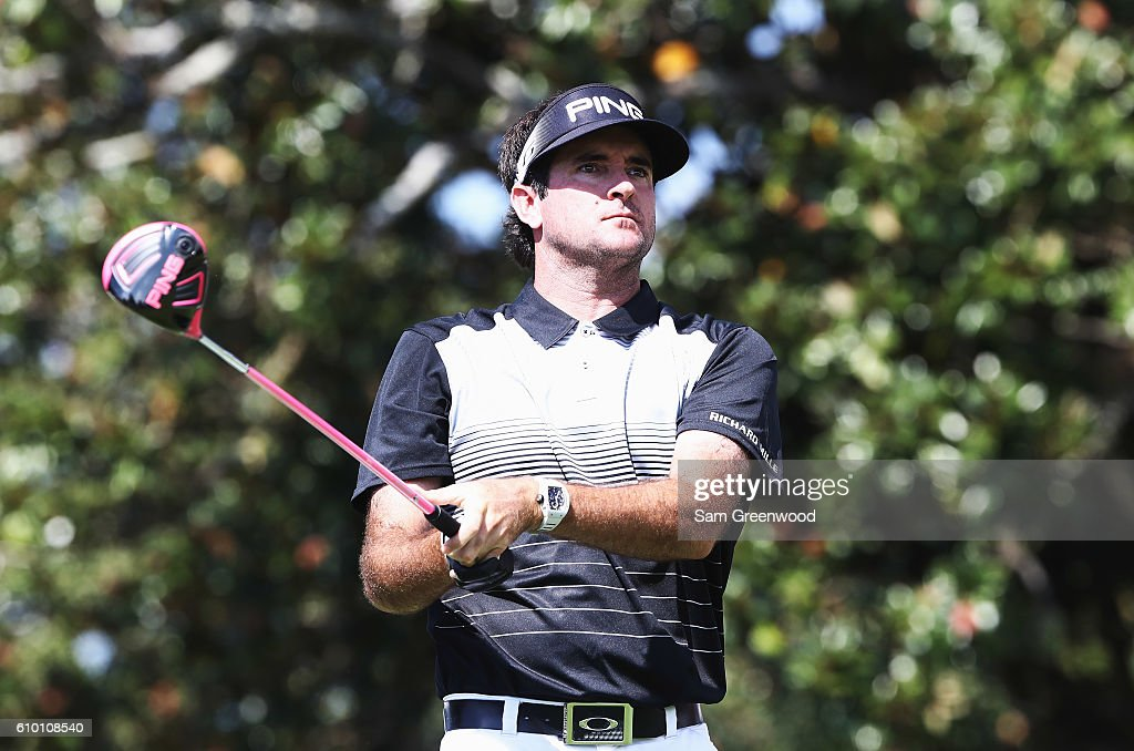 Bubba Watson watches his tee shot on the 18th hole during the third round of the TOUR Championship at East Lake Golf Club on September 24, 2016 in Atlanta, Georgia.