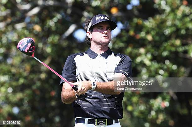Bubba Watson watches his tee shot on the 18th hole during the third round of the TOUR Championship at East Lake Golf Club on September 24 2016 in...