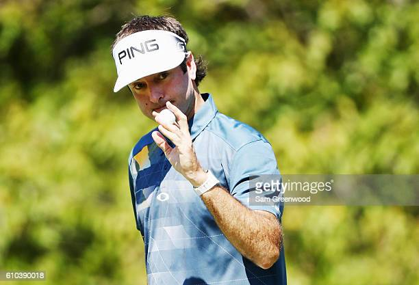 Bubba Watson waves to the gallery on the second hole during the final round of the TOUR Championship at East Lake Golf Club on September 25 2016 in...