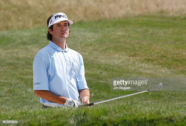 Bubba Watson works his way out of a bunker during the second round of the Deutsche Bank Championship held at TPC Boston on September 5 2009 in Norton...