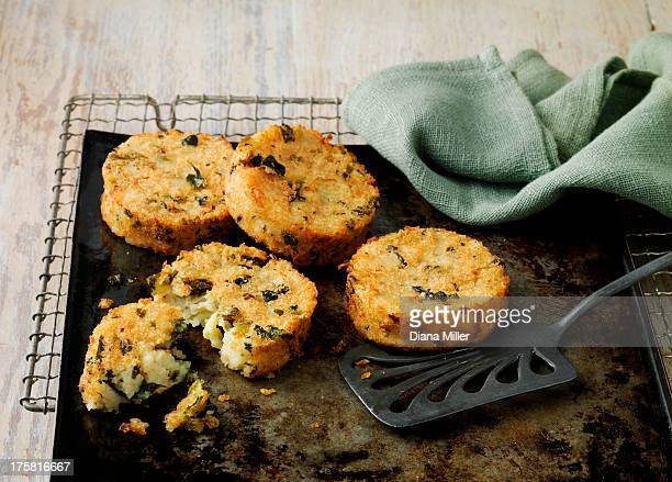 Bubble and squeak cakes on baking sheet with wire rack