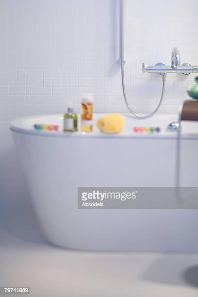 Bubble bath on bathtub
