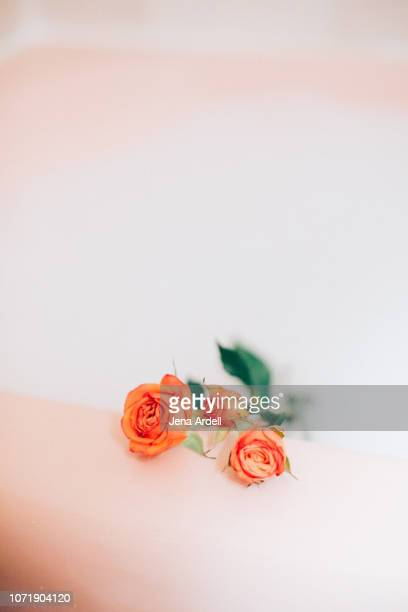 bubble bath, tub roses, romance, romance no people, romantic bath, real life, domestic life, indulgence, pampering yourself, me time, alone time, relax, relaxing - jena rose stockfoto's en -beelden