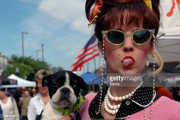 bubble blowing baltimore babe - beehive hair stock pictures, royalty-free photos & images