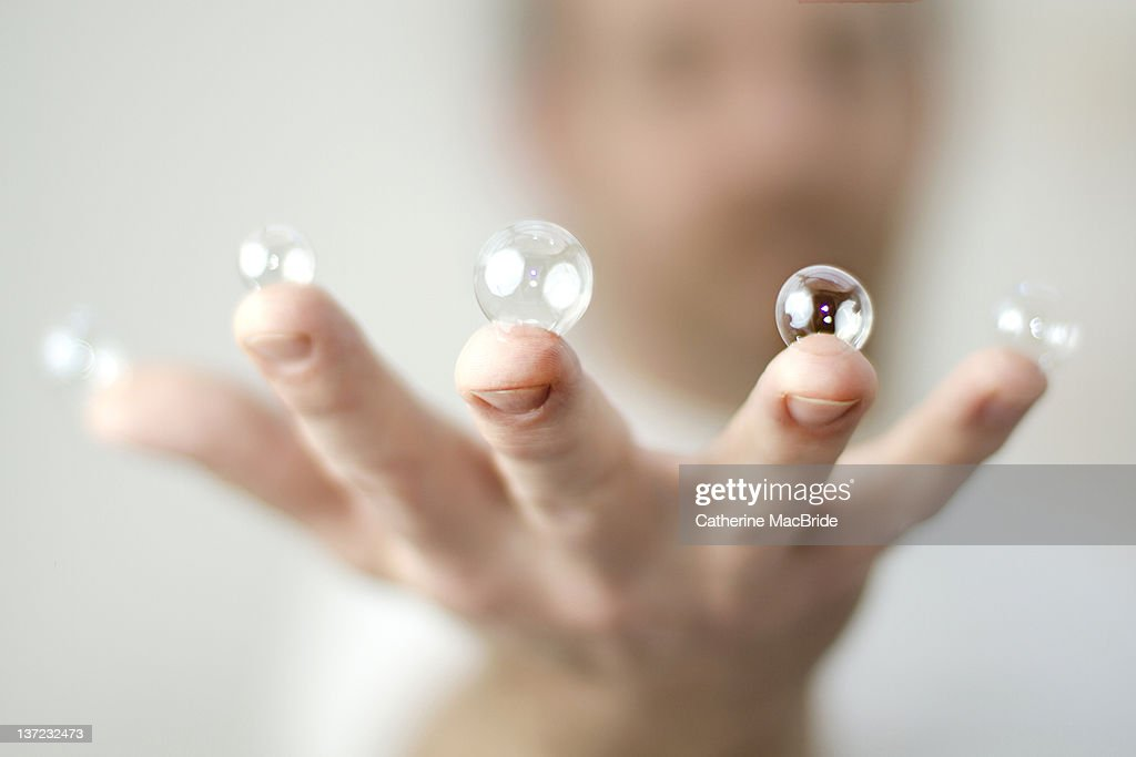 Bubble fingers : Stock Photo