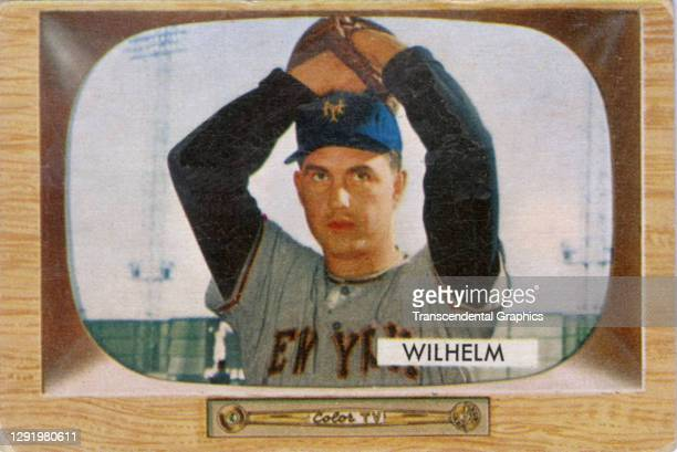 Bubble gum card features baseball player Hoyt Wilhelm, of the New York Giants, 1955.