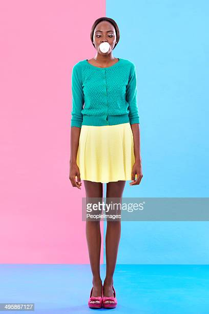 bubble gum hipster - skirt blowing stock photos and pictures