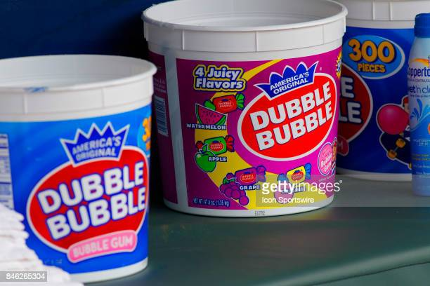 Bubble gum in the dugout during the major league baseball game between the Atlanta Braves and the Miami Marlins on September 10 at SunTrust Park in...