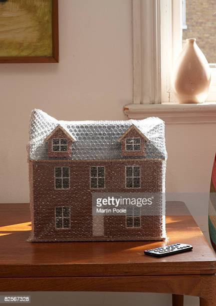 bubble wrapped dolls house