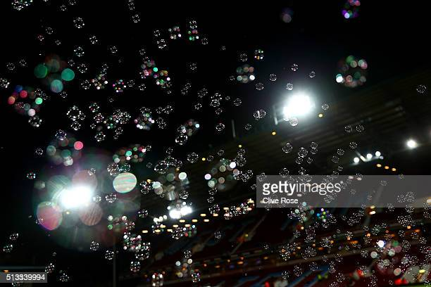 Bubbles float through the air prior the Barclays Premier League match between West Ham United and Tottenham Hotspur at Boleyn Ground on March 2 2016...