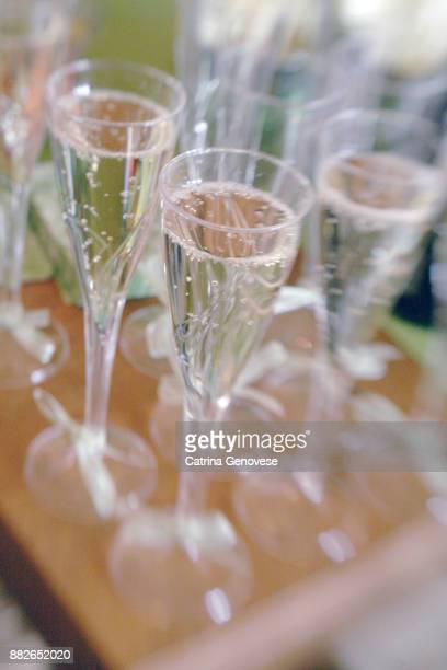 bubbling glasses champagne champagne flutes served