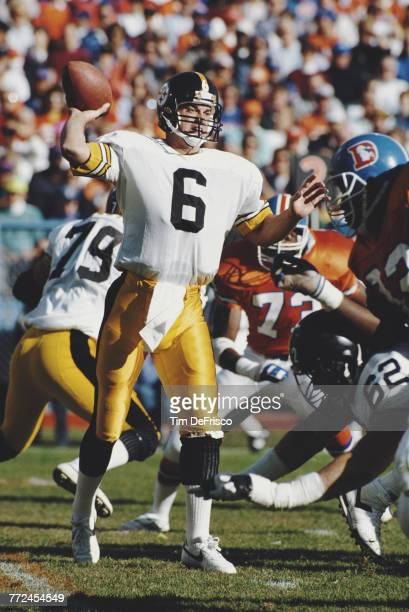 Bubby Brister Quarterback for the Pittsburgh Steelers prepares to throw a pass during the American Football Conference West game against the Denver...